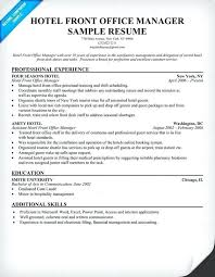 Office Management Resume Hotel Front Manager Travel Supervisor Sample