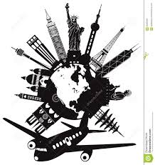 Travel Around The World By Airplane Vector Illustration