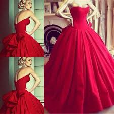 Vintage Princess Red Wedding Dresses Formal Dress Ball Gowns Bodice Sweetheart Floor Length Big Bow Back Backless Bride Cheap Gown