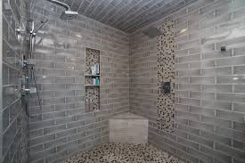 bathroom stainless shower design with tile wall also