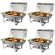 Super Deal Stainless Steel 4 Pack 8 Qt Chafer Dish W Water Pan Food