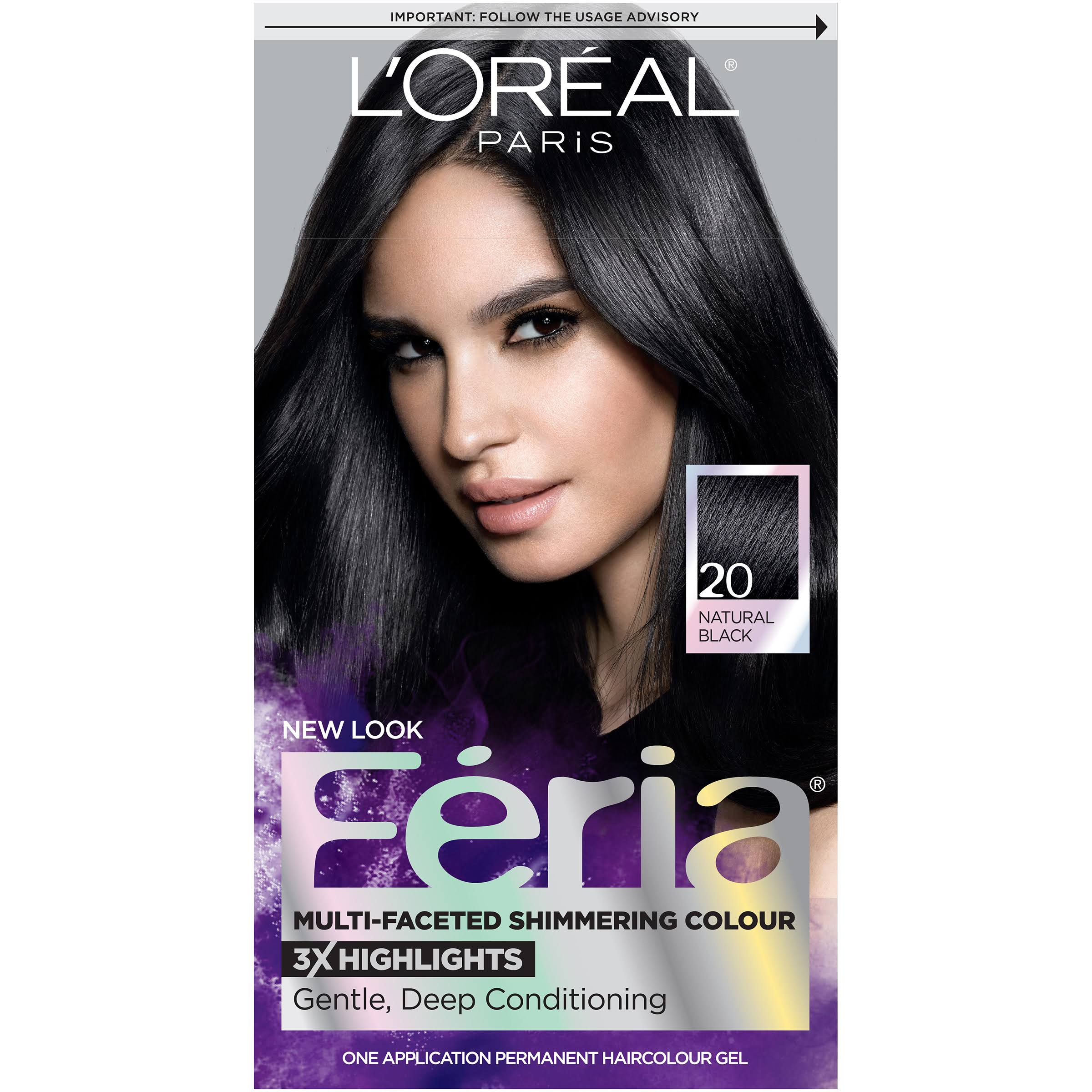 L'oreal Paris Feria Permanent Haircolour Gel - 20 Natural Black