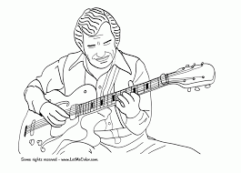 Coloring PageAmusing Jazz Pages Music Page Guitar At