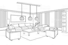 Furniture Blueprint Flat Design Plan Royalty Free Interior Outline