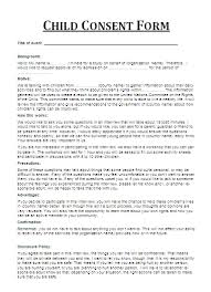 Child Consent Form The Is A Document Or Written Assent By Person To Get Involved In Any Particular Activity