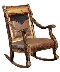 Western Style Rocking Chair With Embossed Yoke Insert On Seat Back