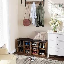 vasagle schuhbank schuhregal schuhaufbewahrung sitzbank 10 fächer mit polsterung für den eingangsbereich flur schlafzimmer 104 x 30 x 48 cm