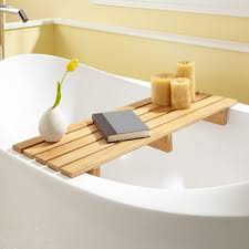 chasse bamboo tub shelf bathroom
