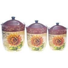 Tuscan Sunflower Kitchen Canisters DecorCanister Sets3