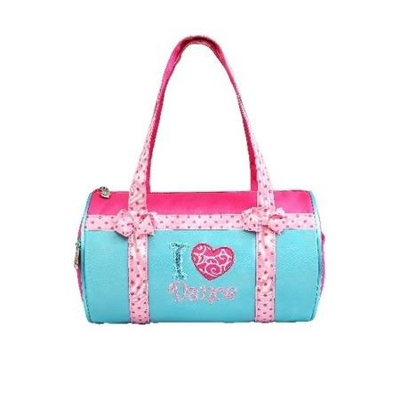 Sassi Designs Teal Pink I Love Dance Duffel Bag, Size: One size, Green