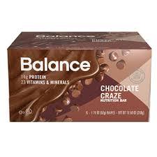 Balance Bar Chocolate Craze Nutrition 176 Oz Bars 6 Per