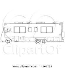 Cartoon Of An Outlined Man Driving A Class Motorhome