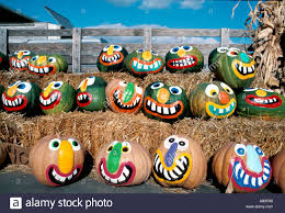 Halloween Faces For Pumpkins Painted by Halloween Pumpkins Painted Faces Fall Autumn Stock Photo Royalty