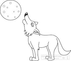 Animals Clipart coyote black white outline clipart 7213