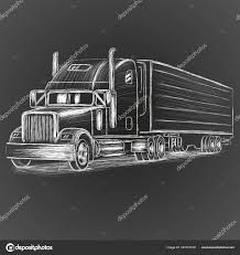 Classic American Truck Hand Drawn Vector Illustration. Retro ...