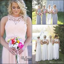 Hot Country Style Bridesmaid Dresses 2017 Jewel Neck Top Lace