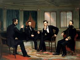 Features Lincoln Discussing Strategy With Generals William T Sherman And Ulysses S Grant Admiral David D Porter Near The End Of Civil War