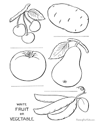 Extraordinary Fruits And Veggies Coloring Pages Vegetables Page Printable To Color