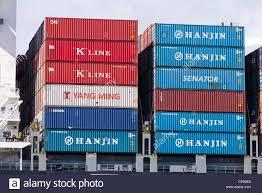 100 Shipping Containers San Francisco Stacked On Cargo Ship California USA
