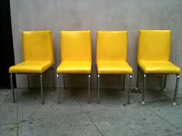 Original And Bright Modern Yellow Leather Dining Chairs ... Original And Bright Modern Yellow Leather Ding Chairs 84 Off Ikea Bernhard Leather Ding Chairs 28x Red Faux Peterborough Cambridgeshire Tufted For Sale Pair Of Chesterfield 4 Timrobsoninfo Brown Monasterynolacom Italian Design Onurkayaco Healthyintellectco Diana Vintage White Chair Final Sale Wazo Fniture On Oak Tables For Sale Pink Mersoudahinfo Antique Green Restaurant Salenscf079 Buy Chairsrestaurant Saleantique