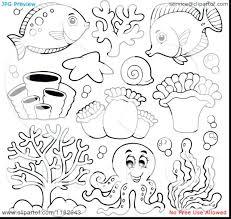 Preschool Coloring Pages Ocean Life Animals Cartoon Sea Underwater
