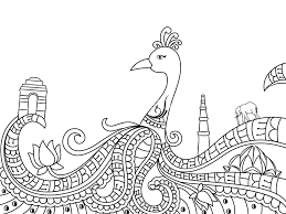 Creative Line Art Design Of Indian National Bird Peacock With Other Symbols And Monuments For Independence Day Republic Celebration Black White