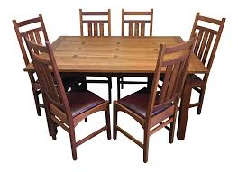 Stickley Mission Leather Sofa by Stickley Mission Dining Table U0026 Set Of 6 Ellis Chairs Chairish