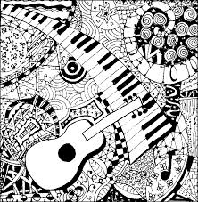 Guitar And Piano More Coloring Pages Music