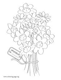 Smiling Flowers For Mothers Day Coloring Page