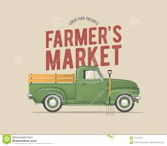 100 Old School Truck Farmers Market Themed Vintage Styled Vector Illustration Of The