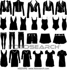 Clipart Of Womens Clothing Silhouettes K6225942