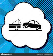 100 Truck Sign Tow Truck Sign Vector Black Icon In Bubble On Blue Popart Bac