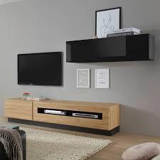 kleine tv media wohnwand chur 61 eiche hell mit hochglanz schwarz b h