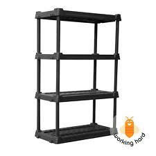 Plastic Storage Shelves 4 Tier Freestanding Shelving Unit Garage