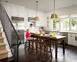 Farmhouse Table Kitchen Traditional With Island Brass