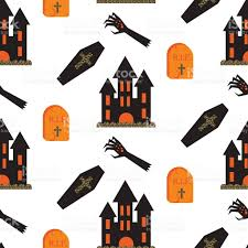 Zombie Hand Pumpkin Stencil Free by Halloween Castle Vector Seamless Pattern Stock Vector Art