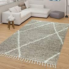 tt home skandi teppich wohnzimmer beige creme hochflor shaggy rauten muster robust weich größe 160x220 cm