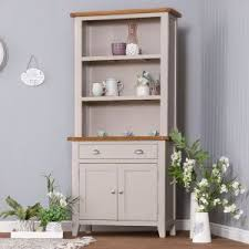 Chester Grey Painted Oak Small Sideboard Hutch Set