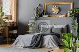 fototapete gold und grau elegantes schlafzimmer