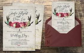 Rustic Wedding Invitation Invite Calligraphy Boho Floral RSVP Card DIY Digital Set Wood Background