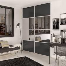 porte de placard chambre porte de placard coulissante gris graphite miroir spaceo l 98 7