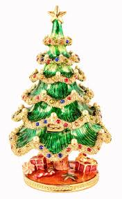 Get Quotations Christmas Tree Trinket Box Multi Color Swarovski Crystal Faux Pearls Hand Painted Green