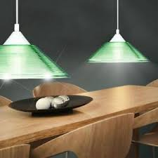 details zu pendel le decken leuchte beleuchtung grün esszimmer riefen glas rund trio