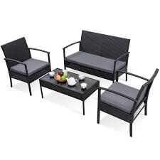 Modern 4-Piece Outdoor Rattan Patio Furniture Set In Black Supagarden Csc100 Swivel Rattan Outdoor Chair China Pe Fniture Tea Table Set 34piece Garden Chairs Modway Aura Patio Armchair Eei2918 Homeflair Penny Brown 2 Seater Sofa Table Set 449 Us 8990 Modern White 6 Piece Suite Beach Wicker Hfc001in Malibu Classic Ding And 4 Stacking Bistro Grey Noble House Jaxson Stackable With Silver Cushion 4pack 3piece Cushions Nimmons 8 Seater In Mixed