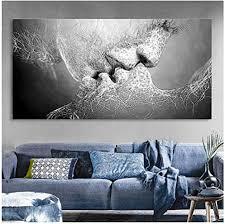 wandkunst liebe kuss leinwand malerei abstrakte druckplakat bilder home schlafzimmer wohnzimmer dekoration 50x120 cm gerahmte grau