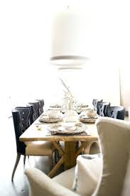 Eclectic Dining Room Design Ideas Linen Tufted Chairs With Rustic