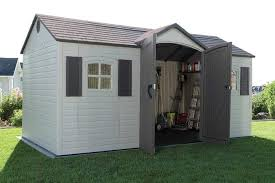 amazon com lifetime 6446 outdoor storage shed with shutters