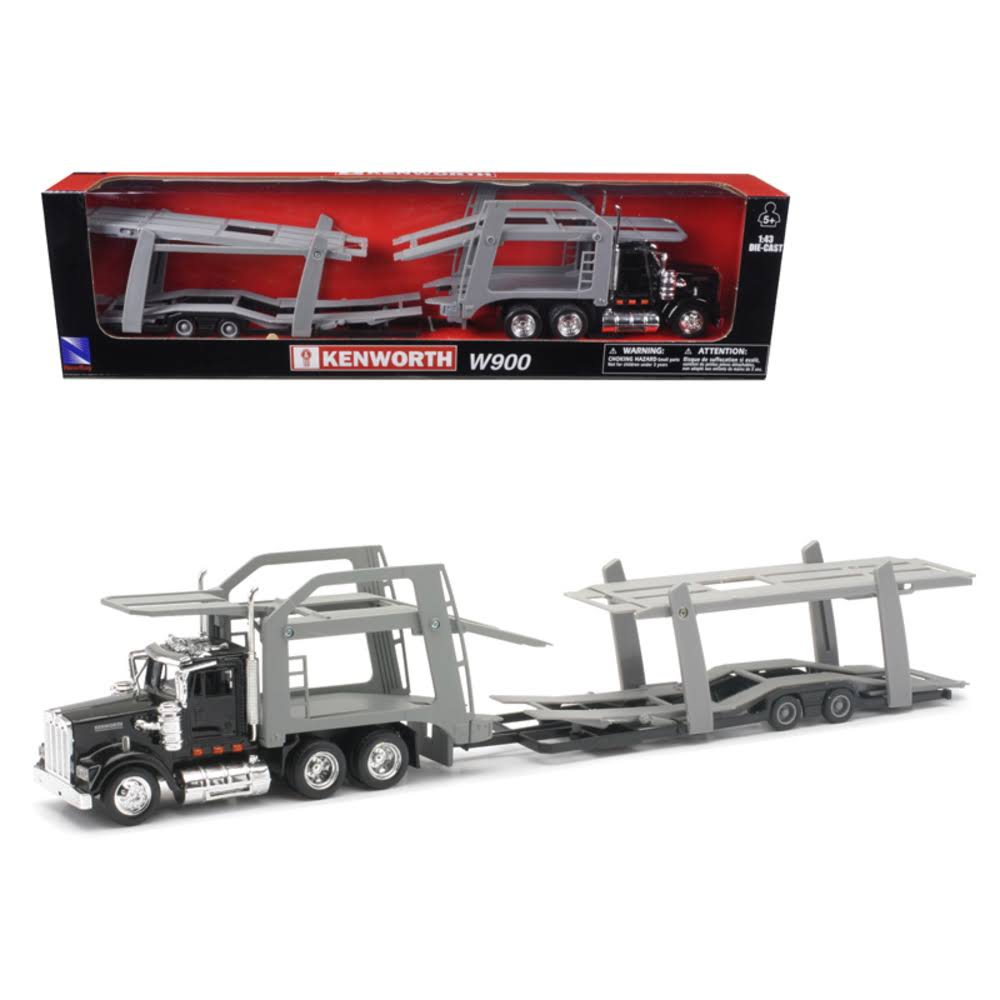 Kenworth W900 Black with Twin Auto Carrier 1/43 by New Ray