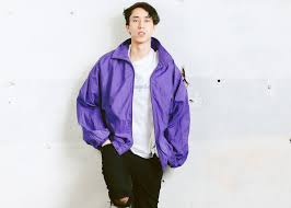 Vintage Zip Up Shell Jacket Mens Rave Activewear Purple 90s Streetwear Men Clothing Size Extra Large