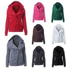 Women Sweatshirts Solid Hooded Jacket Long Sleeve Womens Zipper Fall Winter Coat